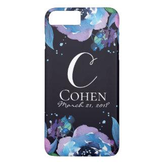 Coque iPhone 7 Plus Noir bleu et monogramme floral pourpre de mariage