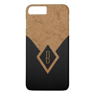Coque iPhone 7 Plus Noir chic élégant et Tan de monogramme minces