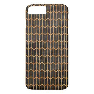Coque iPhone 7 Plus Noir et motif d'abrégé sur or