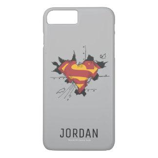 Coque iPhone 7 Plus Nom cassé du logo   en métal du S-Bouclier   de