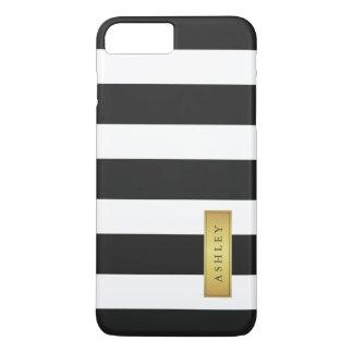 Coque iPhone 7 Plus Nom d'étiquette blanc noir classique d'or de motif