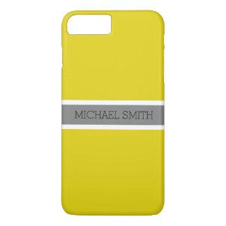 Coque iPhone 7 Plus Nom élégant de ruban gris moderne citrin solide