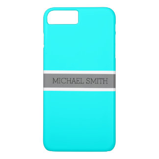 Coque iPhone 7 Plus Nom élégant de ruban gris moderne cyan solide