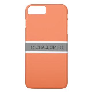Coque iPhone 7 Plus Nom élégant de ruban gris moderne de corail solide