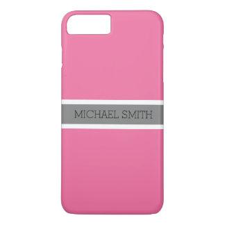 Coque iPhone 7 Plus Nom élégant de ruban gris moderne solide de