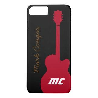 Coque iPhone 7 Plus nom personnalisé et guitare rouge de roche