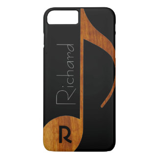 Coque iPhone 7 Plus note de musique de bois-couleur avec le nom