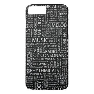Coque iPhone 7 Plus Nuage de mot de motif de MUSIQUE