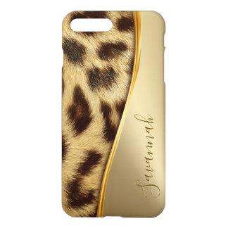 Coque iPhone 7 Plus Or élégant de monogramme de peau de léopard de