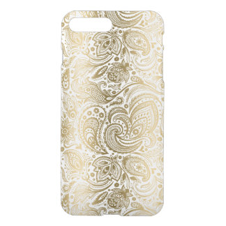 Coque iPhone 7 Plus Or élégant et Paisley floral blanc