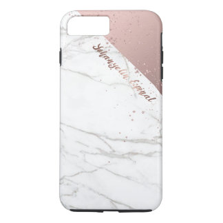 Coque iPhone 7 Plus Or rose de marbre blanc chic à la mode