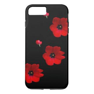 Coque iPhone 7 Plus Ouvrez les tulipes rouges sur la caisse noire de