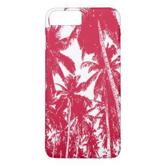 Coque iPhone 7 Plus Palmiers tropicaux en rouge et blanc