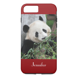 Coque iPhone 7 Plus Panda géant mignon, rouge foncé, coutume avec le