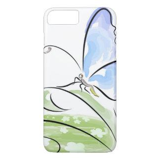 Coque iPhone 7 Plus Papillon se reposant sur l'herbe au-dessus du