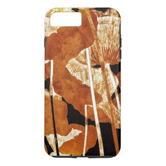 Coque iPhone 7 Plus Pavots Artsy d'or de conception florale sur le