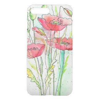 Coque iPhone 7 Plus Pavots peints d'aquarelle