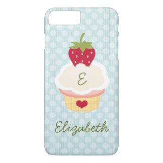 Coque iPhone 7 Plus Petit gâteau décoré d'un monogramme bleu de fraise
