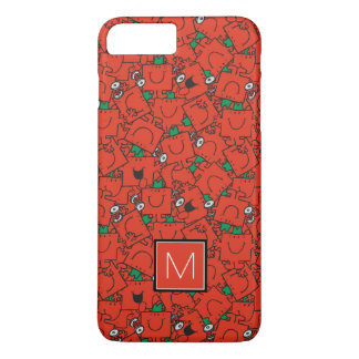 Coque iPhone 7 Plus Poids de levage rouges et monogramme vert du motif