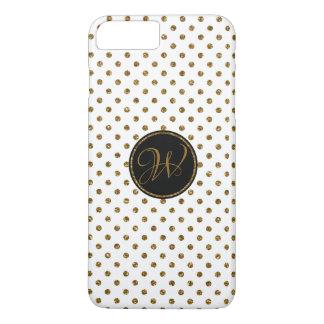 Coque iPhone 7 Plus Pois frais de parties scintillantes d'or blanc