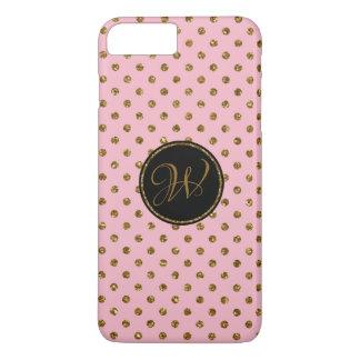 Coque iPhone 7 Plus Pois rose de parties scintillantes d'or de cool