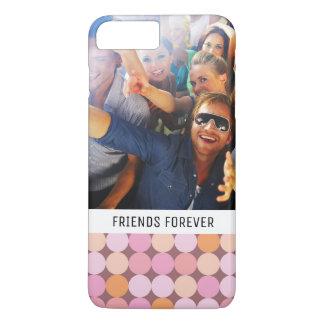 Coque iPhone 7 Plus Pois rose et orange fait sur commande de photo et