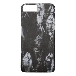 Coque iPhone 7 Plus Poissons blancs fossiles sur l'arrière - plan noir