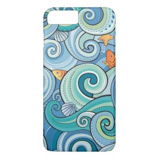 Coque iPhone 7 Plus Poissons parmi le motif de vagues