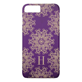 Coque iPhone 7 Plus Pourpre de monogramme et médaillon exotique d'or