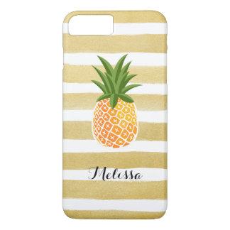Coque iPhone 7 Plus Rayures élégantes d'or d'aquarelle d'ananas