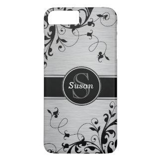Coque iPhone 7 Plus Remous floraux noirs argentés