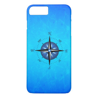 Coque iPhone 7 Plus Rose de boussole bleu
