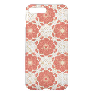 Coque iPhone 7 Plus Rouge et motif floral de dentelle d'or