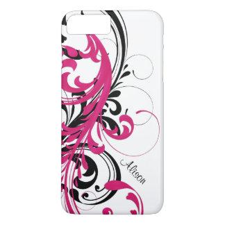 Coque iPhone 7 Plus Rouleau onduleux génial blanc noir de roses indien