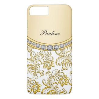 Coque iPhone 7 Plus Style chic de monogramme d'or