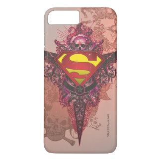 Coque iPhone 7 Plus Superman a stylisé le logo grunge de conception de