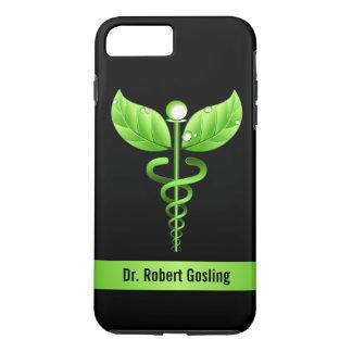 Coque iPhone 7 Plus Symbole holistique de santé de caducée vert dur