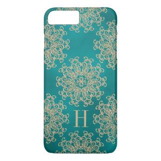 Coque iPhone 7 Plus Teal décoré d'un monogramme et médaillon exotique