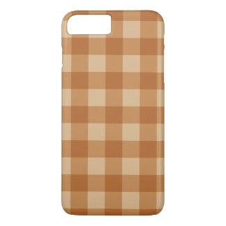 Coque iPhone 7 Plus Tissu checkered de plaid brun classique