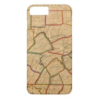 Coque iPhone 7 Plus Une carte de l'état de la Pennsylvanie