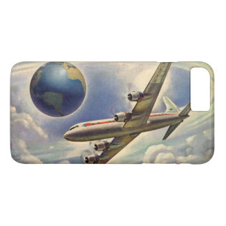 Coque iPhone 7 Plus Vol vintage d'avion autour du monde en nuages