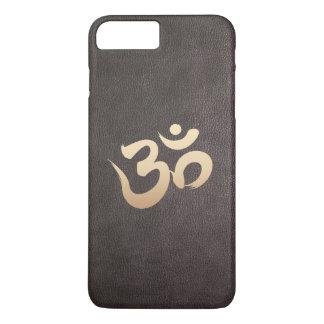 Coque iPhone 7 Plus Yoga de cuir de Faux de symbole de l'OM d'or