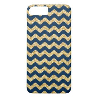 Coque iPhone 7 Plus Zigzag élégant Chevron de scintillement d'or de