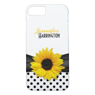 Coque iPhone 7 Point de polka chic de tournesol