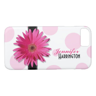 Coque iPhone 7 Point de polka rose chic de marguerite de Gerbera