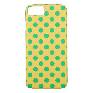 Coque iPhone 7 Pois vert sur le jaune