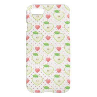 Coque iPhone 7 Pommes de coeur avec le pois et les coeurs roses