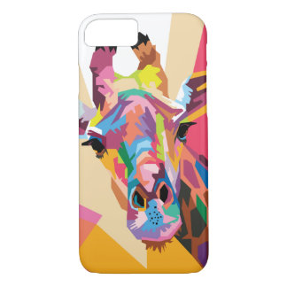 Coque iPhone 7 Portrait coloré de girafe d'art de bruit