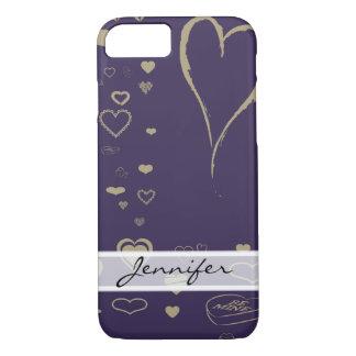 Coque iPhone 7 Purple Heart foncé moderne élégant