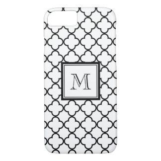 Coque iPhone 7 Quatrefoil noir et blanc, votre monogramme